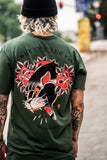 """Panther and Roses 2"" Short Sleeve T-Shirt - Olive Green"