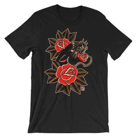 """Panther & Roses"" Unisex short sleeve t-shirt by Myke Chambers."