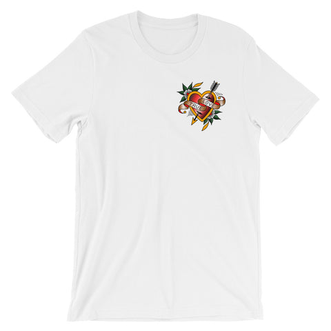 """True Love"" Pocket Print Unisex T-shirt by Myke Chambers."