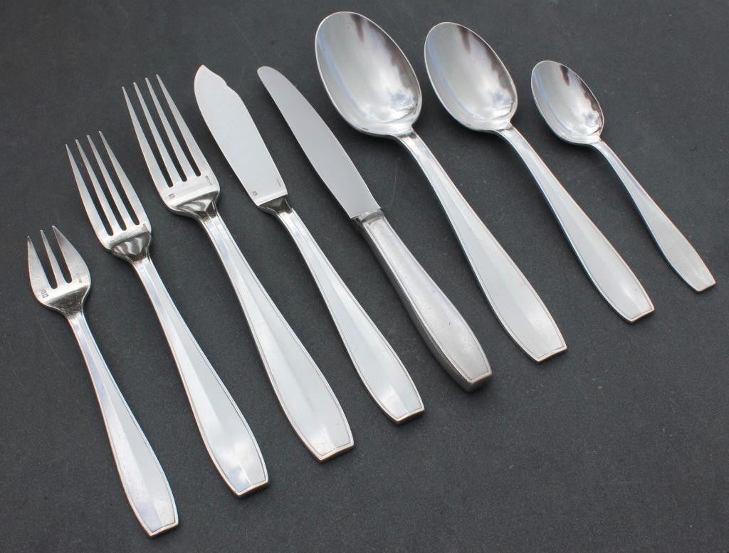French Line CGT SS Normandie 1st Class flatware Atlas pattern Christofle 92 pieces