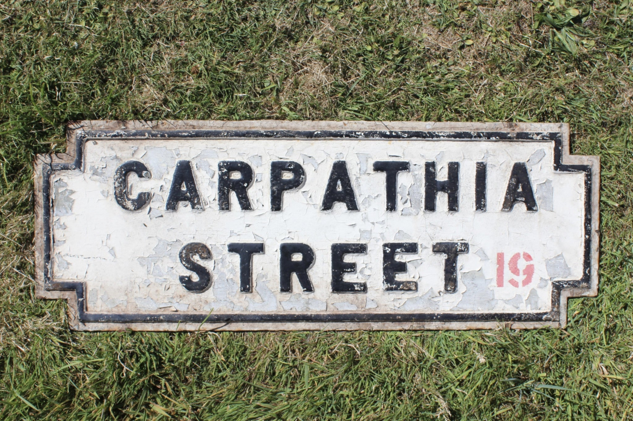 CARPATHIA STREET, C-1910 cast iron city of Liverpool street sign. Cunard Line.