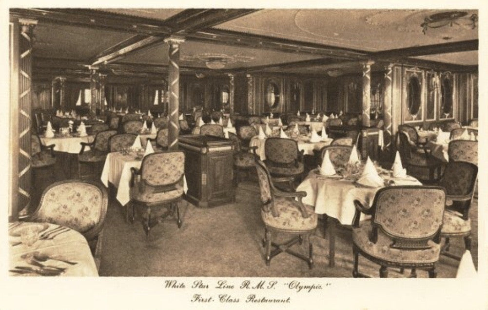 White Star Line, RMS Olympic, Titanic & Britannic. A'la carte restaurant dining room chair modern day reproduction.