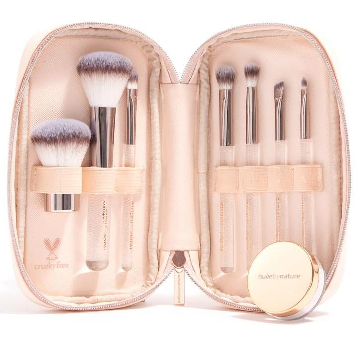 NUDE BY NATURE 7 Piece Essential Collection Brush Set with Mineral Finishing Veil (Limited Edition)