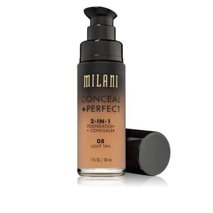 MILANI Conceal + Perfect 2-in-1 Foundation + Concealer - Light Tan #08