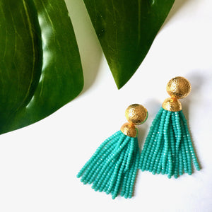 VERA Africana Tassel Earrings in Aquamarine