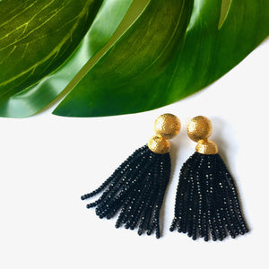 VERA Africana Tassel Earrings in Black