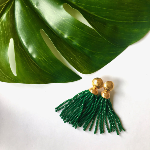 VERA Africana Tassel Earrings in Emerald Green
