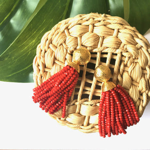 VERA Africana Tassel Earrings in Ruby Red