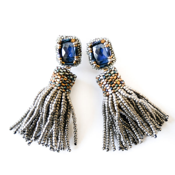 VERA Argento Beaded Tassel Earrings