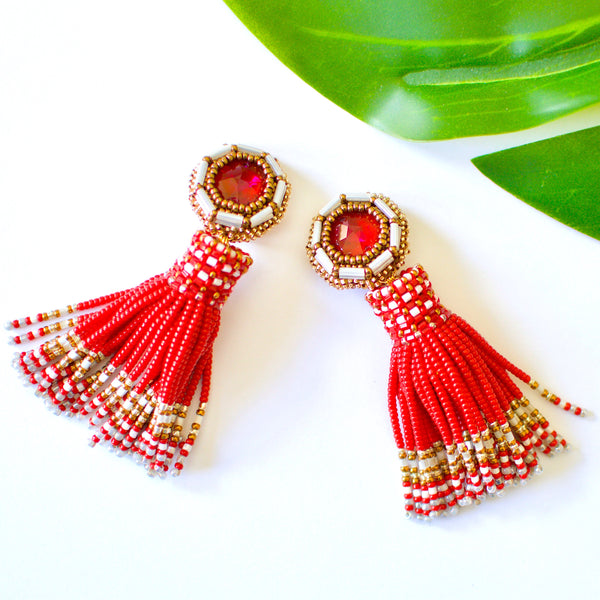 Azar Beaded Tassel Earrings