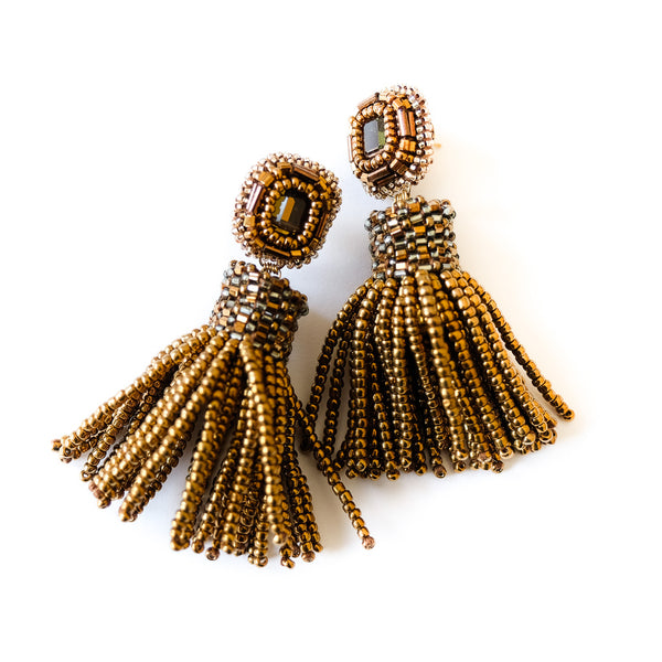 VERA Bel Tramonto Beaded Tassel Earrings