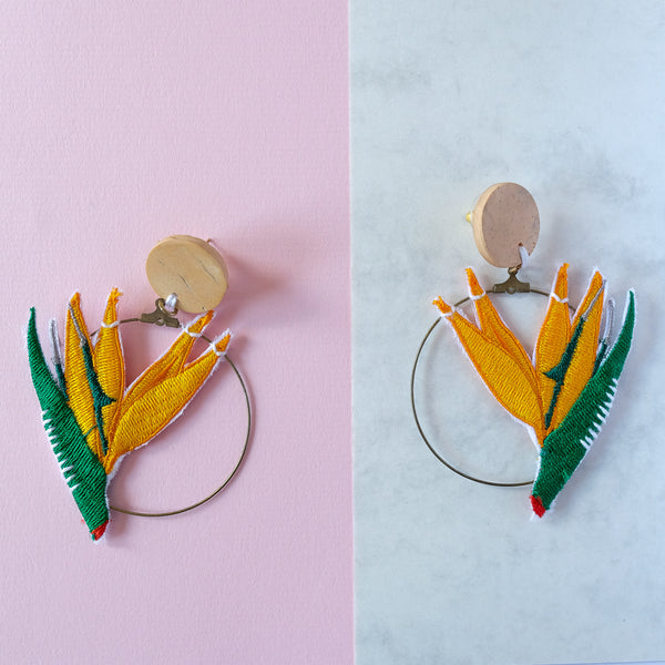 VERA Bird of Paradise Earrings in Orange