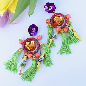 VERA Cheequita Yellow Parrot Earrings
