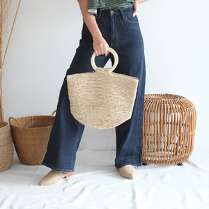 Cora Tote with Natural Wood Handle