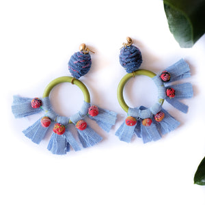 VERA Diwang Fringe Earrings in Azul