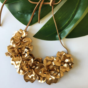 VERA Fleur de Lis Bib Necklace in Gold