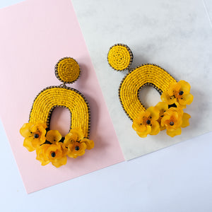 VERA Florabelle Earrings in Canary Yellow