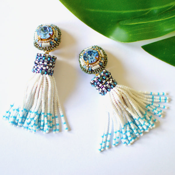 VERA Marin Beaded Tassel Earrings