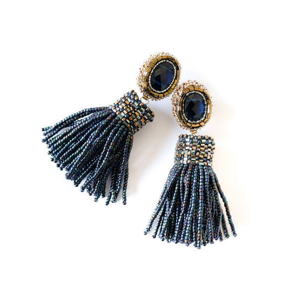 VERA Mezzanotte Beaded Tassel Earrings
