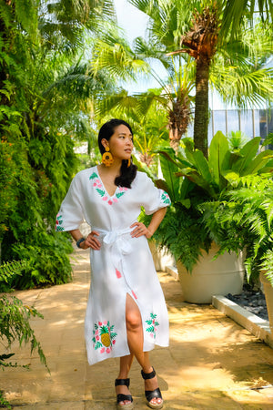 VERA Piña Colada Linen Embroidered Dress