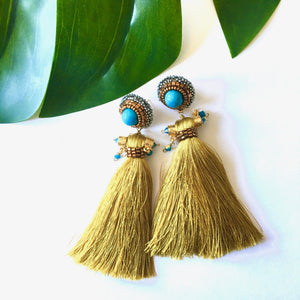 VERA Pirus Silk Tassel Earrings
