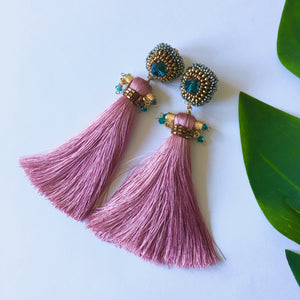 VERA Ros Silk Tassel Earrings