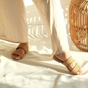 VERA Sinta Double Strap Slides in Tan