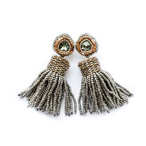 VERA Stardust Beaded Tassel Earrings