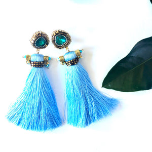 Ros Silk Tassel Earrings in Sky Blue