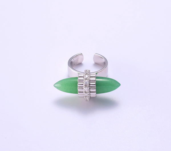 Meira with Green Aventurine in Rhodium Plating