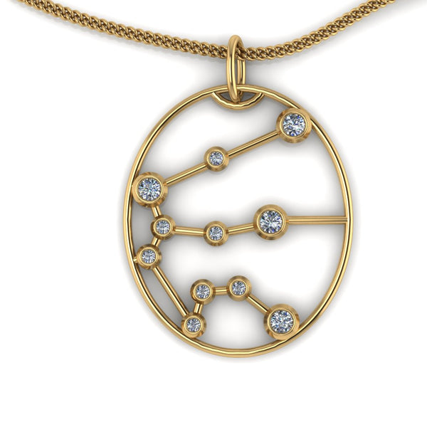 AQUARIUS - Zodiac Diamond Necklace in 18ct Gold or Platinum