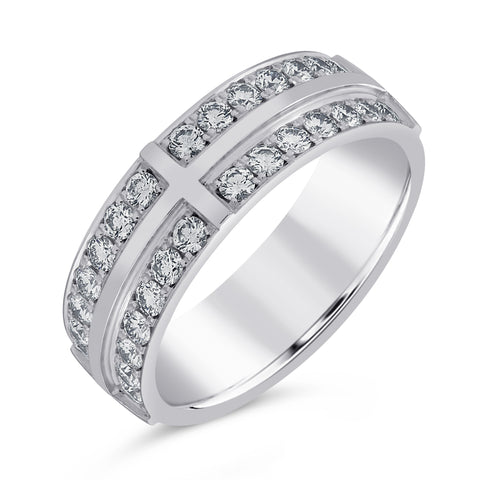 Furre Jacot Two Row Diamond Half Band Ring in 18ct White Gold