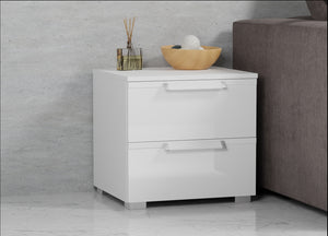 instrument BRONX 2 drawers bedside table 47cm [White] - INSTRUMENT FURNITURE