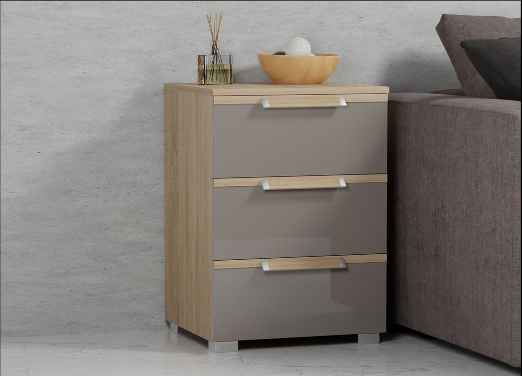 instrument BRONX 3 drawers bedside table 47cm [Fango Glass] - INSTRUMENT FURNITURE