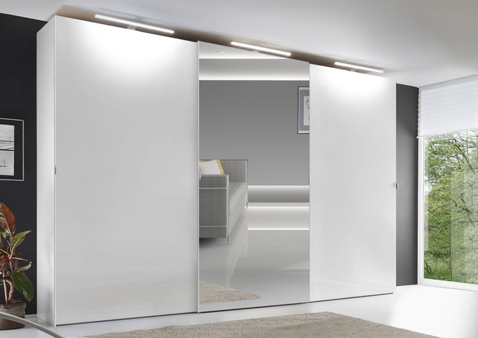 instrument VIGO sliding wardrobe 336cm [Alpine White Glass] - INSTRUMENT FURNITURE