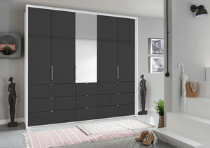 instrument ZARA-4 bi folding wardrobe 254cm [Basalt Glass] - INSTRUMENT FURNITURE
