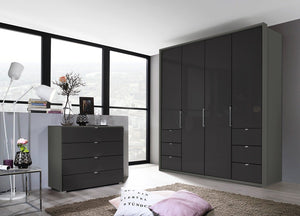 instrument ZARA-3 bi folding wardrobe 204cm [Basalt Glass] - INSTRUMENT FURNITURE