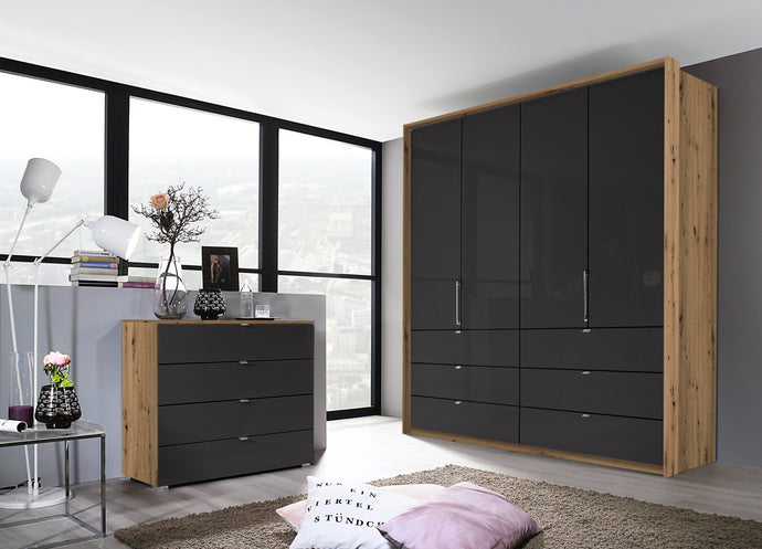 instrument ZARA-1 bi folding wardrobe 204cm [Basalt Glass] - INSTRUMENT FURNITURE