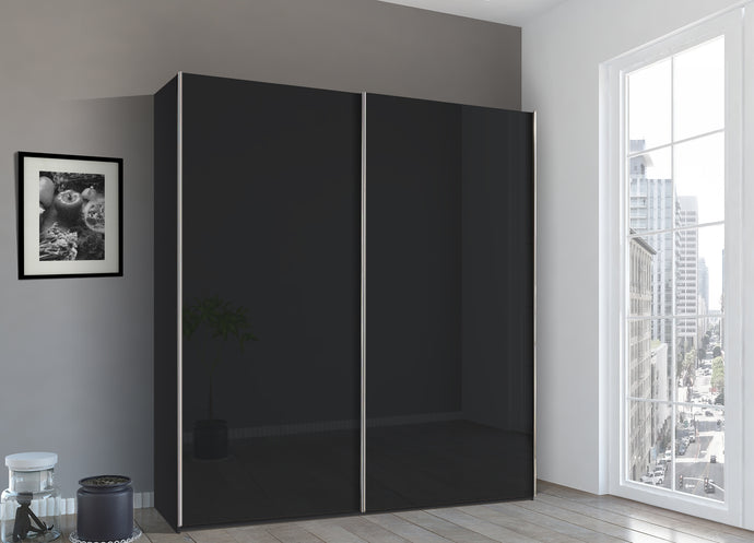instrument Bronx sliding wardrobe 226cm [Basalt Glass] - INSTRUMENT FURNITURE