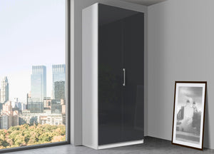 instrument Bronx hinged wardrobe 91cm [Basalt Glass] - INSTRUMENT FURNITURE