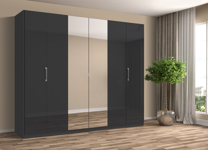 instrument Bronx hinged wardrobe 271cm [Basalt Glass] - INSTRUMENT FURNITURE