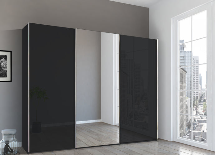 instrument Bronx sliding wardrobe 271cm [Basalt Glass] - INSTRUMENT FURNITURE