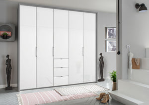 instrument ZARA-6 bi folding wardrobe 254cm [Crystal White Glass] - INSTRUMENT FURNITURE