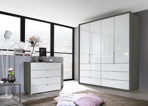 instrument Zara-1 bi folding wardrobe 204cm [Crystal White Glass] - INSTRUMENT FURNITURE