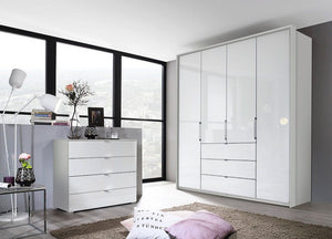 instrument ZARA-2 bi folding wardrobe 204cm [Crystal White Glass] - INSTRUMENT FURNITURE