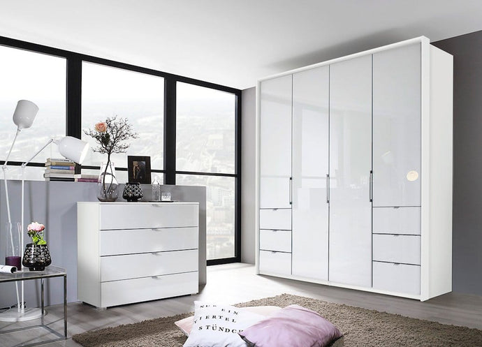 instrument ZARA-3 bi folding wardrobe 204cm [Crystal White Glass] - INSTRUMENT FURNITURE