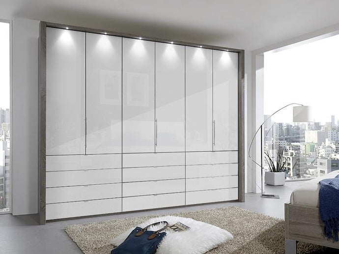 instrument Rosario bi-folding wardrobe with drawers 300cm [White] - INSTRUMENT FURNITURE