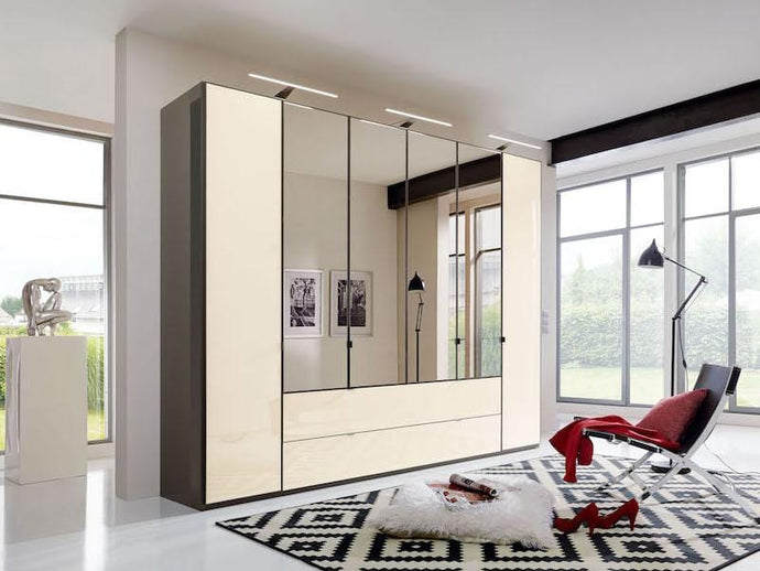 instrument Ipanema hinged wardrobe with drawers 300cm [Magnolia] - INSTRUMENT FURNITURE