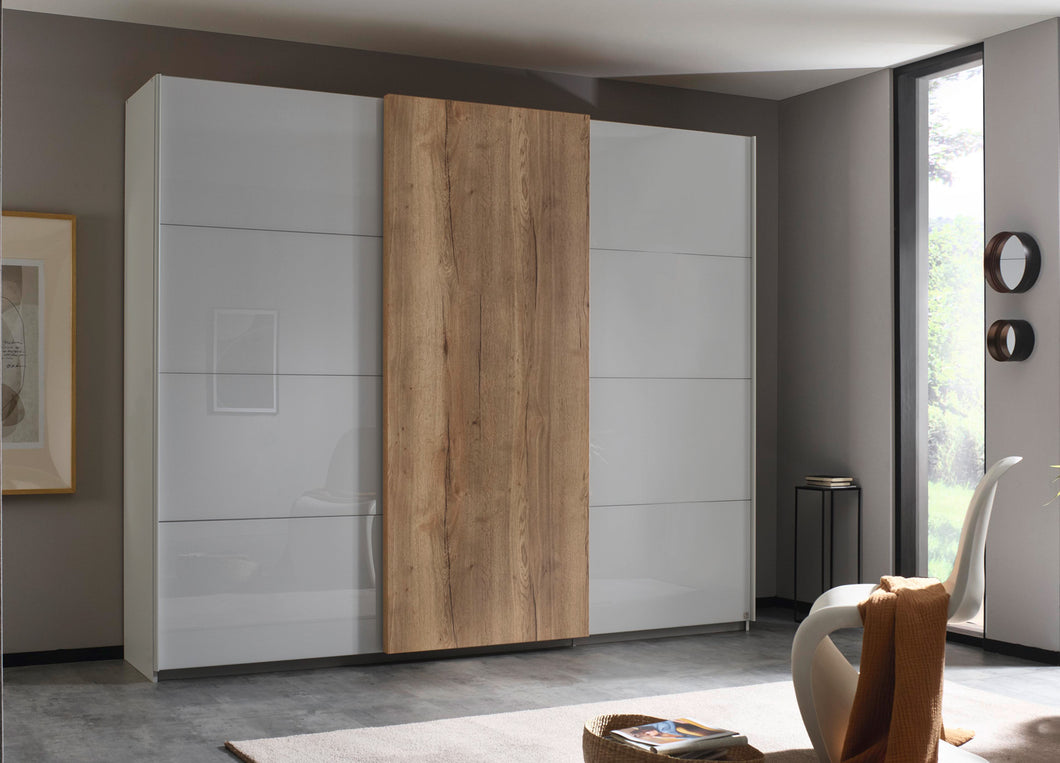instrument Helix sliding wardrobe 271cm [Glass Silk Grey] - INSTRUMENT FURNITURE
