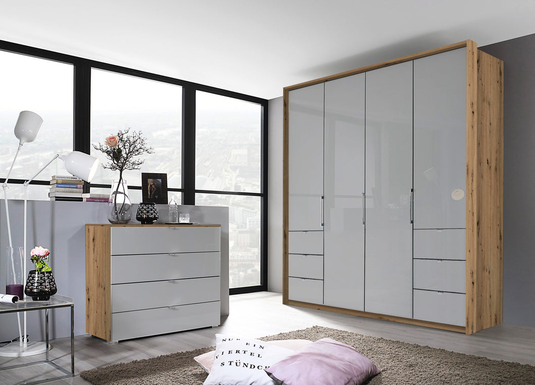 instrument ZARA-3 bi folding wardrobe 204cm [Silk Grey Glass] - INSTRUMENT FURNITURE